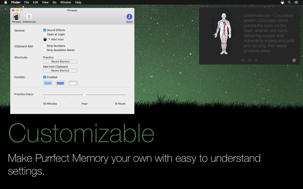 customizable. Make Purrfect memory your own with easy to understand settings.