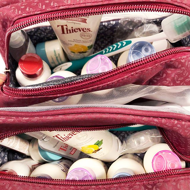 An upcoming 10-day trip to England (Eeekkkk!) calls for 2 of Young Living's Bon Voyage travel kits!  Each kit contains 11 TSA-approved products! (Not only is it awesome for travel, it is a perfect item to add to your monthly Essential Rewards subscription box order because it is 50pv and you get to try a bunch of new to you products. Think of it as a YL sample pack. 😍) You get a zippered, see-through case that contains: 🌱Lavender shampoo 🌱Lavender conditioner 🌱Morning Start Bath & Shower gel (with Lemongrass, Rosemary, Juniper & Peppermint oil = invigorating!) 🌱Genesis Hand & Body lotion (It has Jasmine oil in it!😍) 🌱cute little jar of ART Light Moisturizing Cream 🌱toothbrush with bristle cover 🌱tube of Thieves Aromabright toothpaste 🌱Thieves mouthwash (happy to have a travel-size of this!) 🌱Thieves floss 🌱Cinnamint lip balm 🌱Thieves waterless hand purifier  Roby & I are set! 👊🏻. . . . . . #takecarebegood #efwellness #youngliving #younglivingoils #essentialoils #bonvoyagetravelkit #bonvoyagekit #bonvoyage #travelsize #tsaapproved #toxinfree #allnatural #greenliving #theoilylife #englandherewecome #travelingwithoils #wander #explore