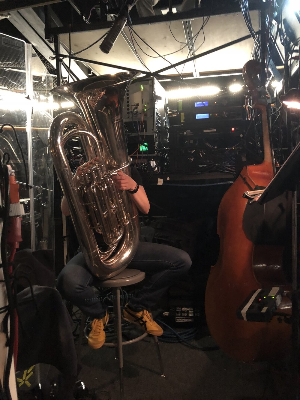 sitzprob for Mame at North Shore Music Theatre. it's a tuba with legs! photo credit: Jay Daly