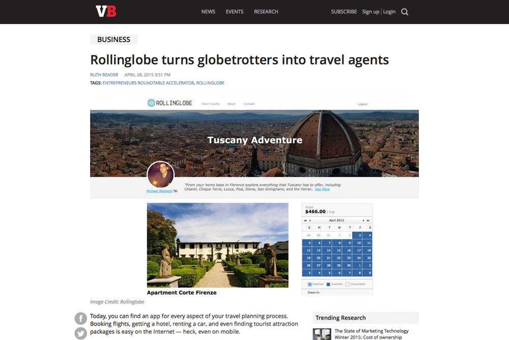 Press coverage of Rollinglobe's online host agency platform.