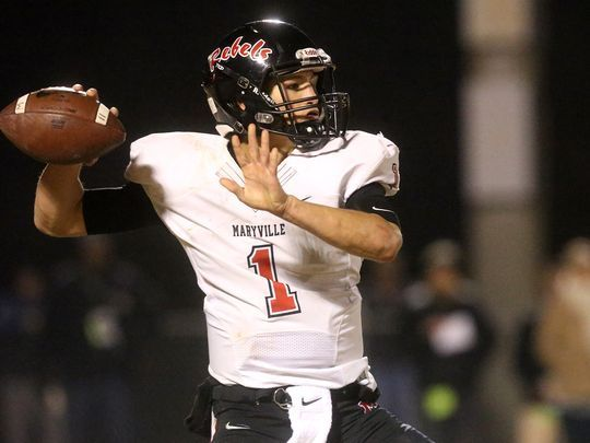 Quarterback Dylan Hopkins led Maryville to the 6A state championship in 2017.