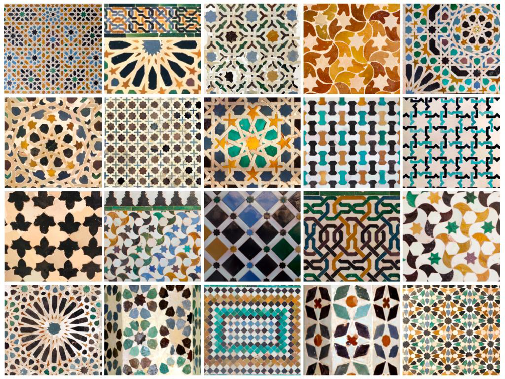 Examples of tiling in the Alhambra from Patronato de la Alhambra y Generalife