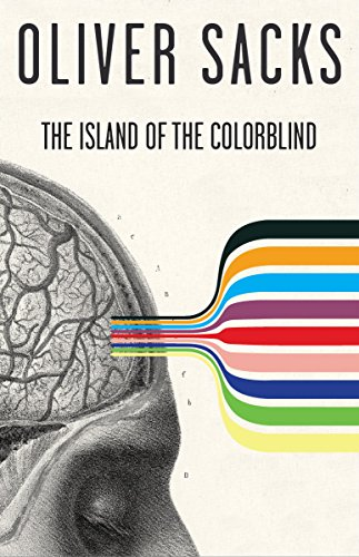 The cover of Oliver Sack's book: The Island of the Colorblind. Featuring a sideview of a drawing of a human head with the brain visible and 9 different colors coming out of the front end.