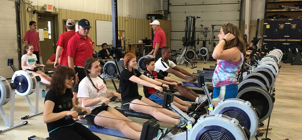 Erging at Summer Learn to Row.
