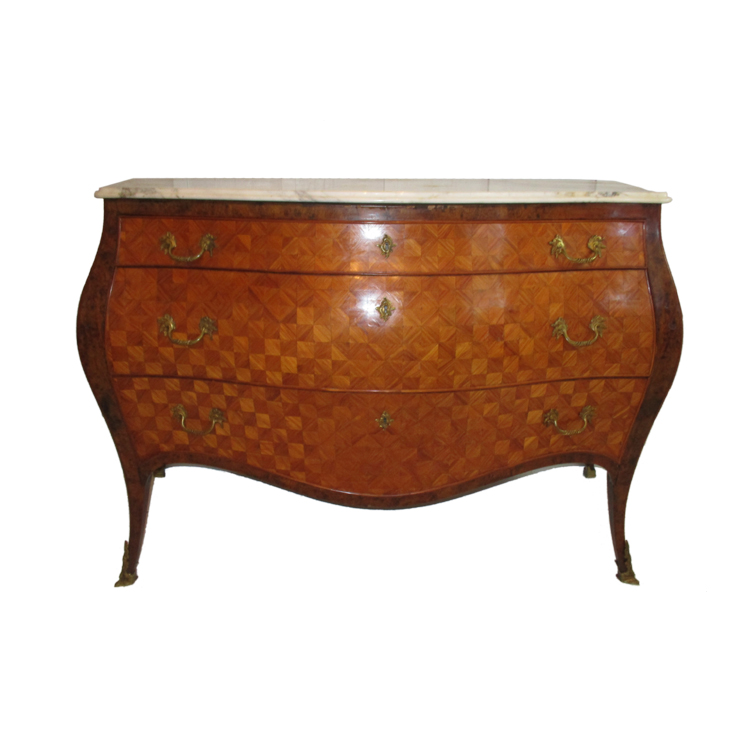 Italian 1960u0027s Marquetry Inlay Bombe Commode