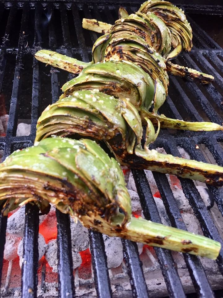 Artichokes on grille.JPG