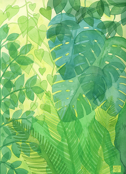 """Translucent Forest""  From Tropical Illustrations collection.  Check out my  ART SHOP  for prints and greeting cards with this design."