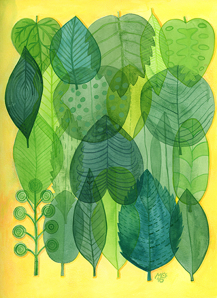 """Translucent leaves""  From Tropical Illustrations collection.  Check out my  ART SHOP  for prints and greeting cards with this design."