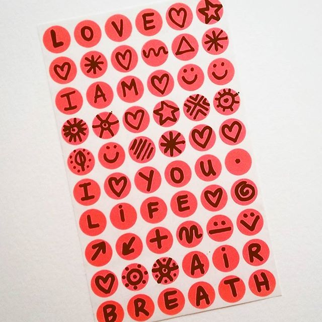 Hand drawn stickers! ( :  #handmade #handdrawn #stickets #byhand #emojis #love #peace #breath #life #marianaoppel