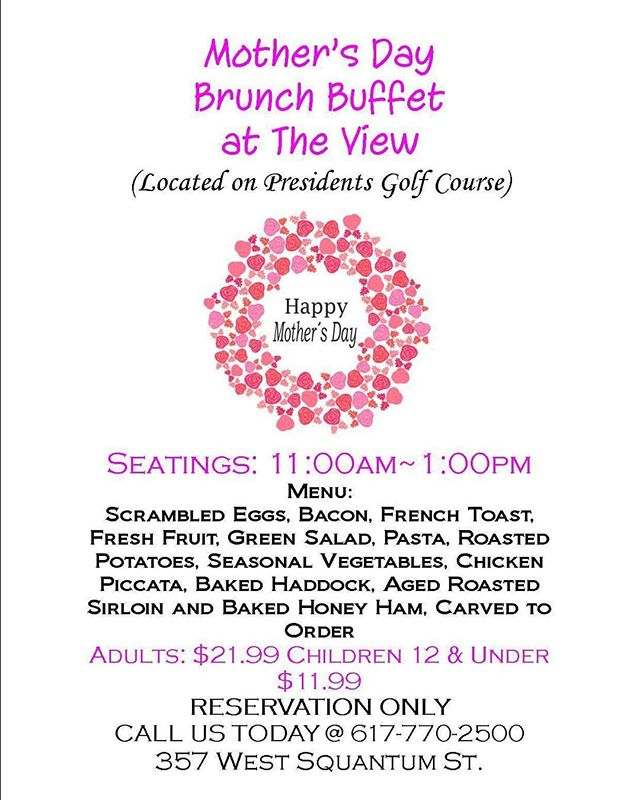 Any plans for Mother's Day yet? Come join us at The View for Mother's Day Brunch! Call for reservations.