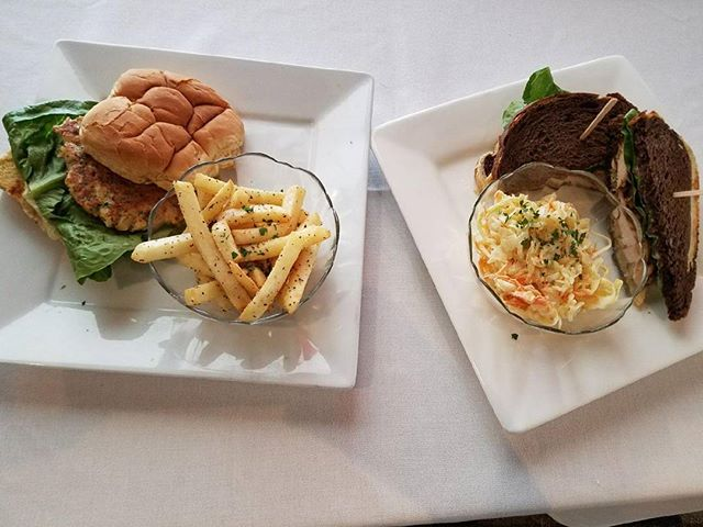 Weekend specials. Pilgrim chicken sandwich-grilled chicken breast with cranberry mayo served on choice of bread. Cod cake sandwich with tartar sauce served with pepper fries. Here at The View.