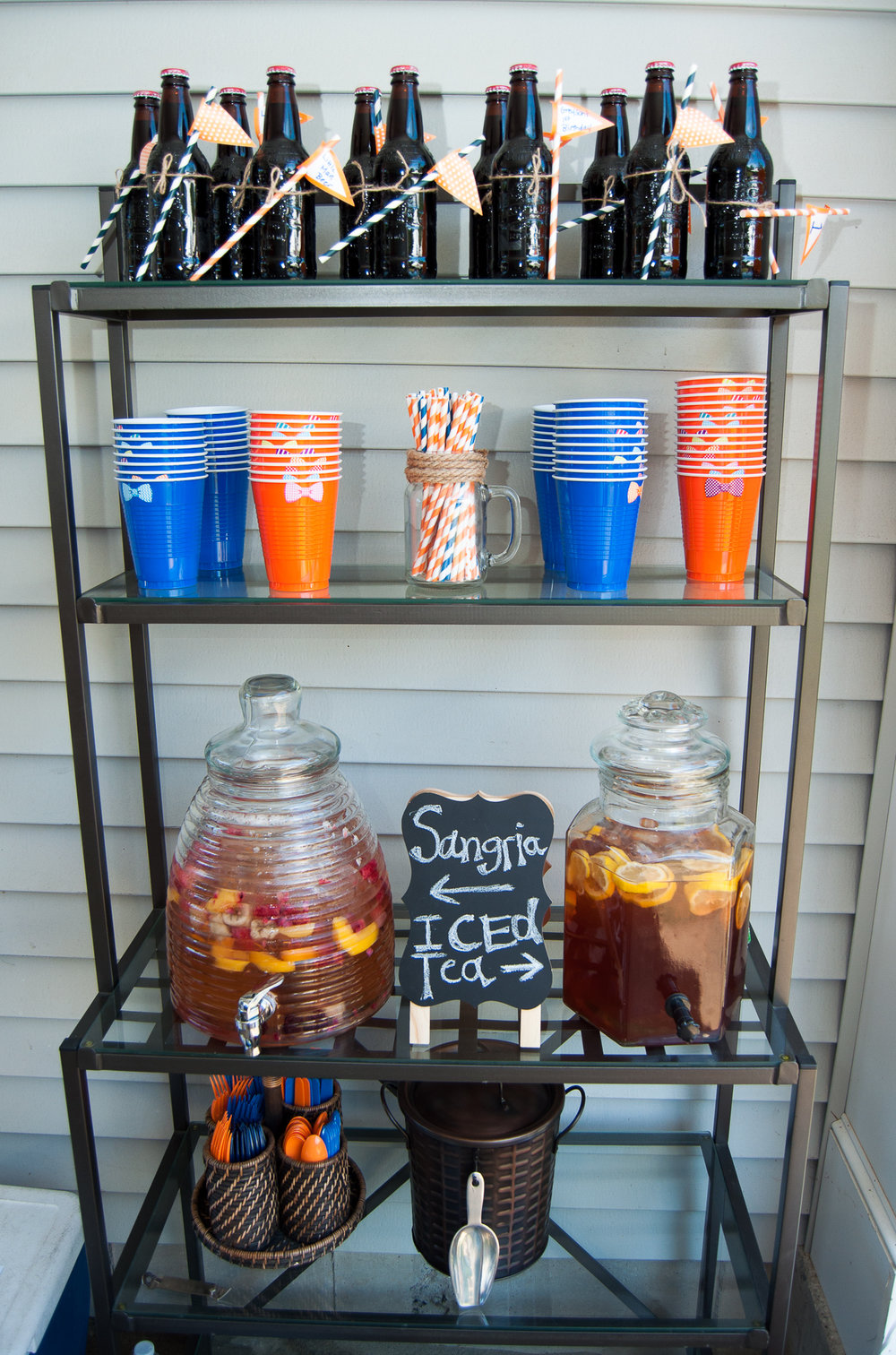 Drink station for my son's little man first birthday party.