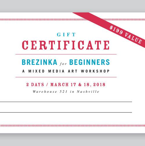 Workshop gift certificate wayne brezinka workshop gift certificate yadclub Gallery