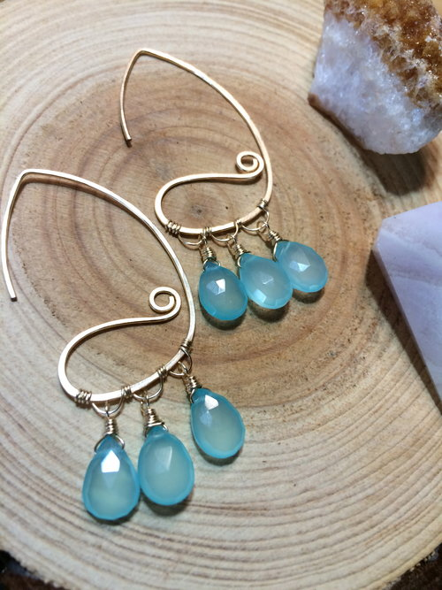 Wai and Kai raindrops, in Gold Fill, Chalcedony