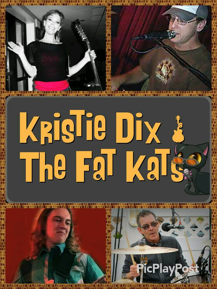 """""""KRISTIE DIX AND THE FAT KATS"""" Original/cover band playing hits of the past 60+ years of all genres, as well as country rock original tunes. Versatile, friendly group of musicians! Female lead singer/guitarist from Holland, MA. We keep the crowd entertained and take requests. Set list of over 1000 songs with a huge variety from The Kinks and Katy Perry, to Kid Rock. Click on the pic above to access website."""