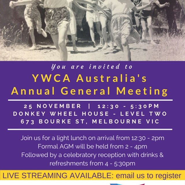 It's AGM time! #YWCA Aus AGM 2017 this year = #live streaming options #virtual attendance #register now