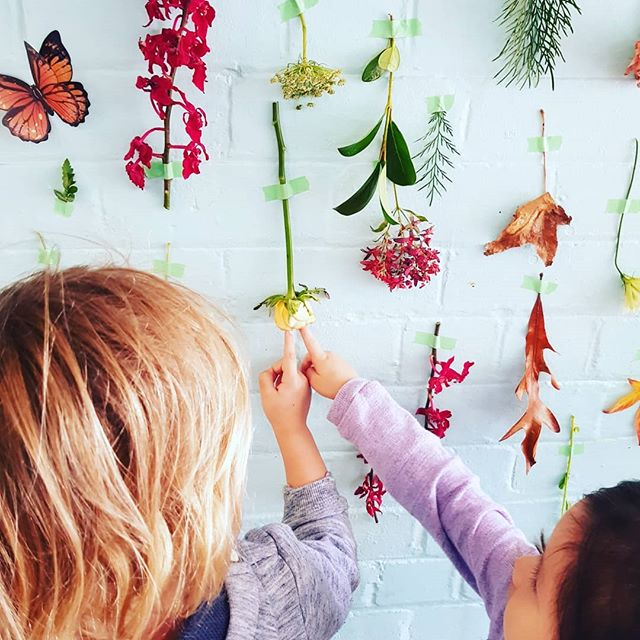 The childrens beautiful floral wall creation using the flowers from our very first Florist excursion today #exploringnature #creativeplay #communitylinks