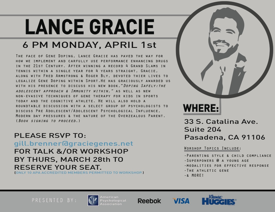 Flyer to promote workshops where Gracie would be promoting his book and company.