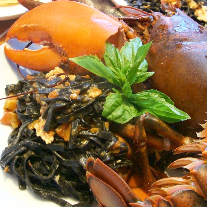 Lobster black ink pasta