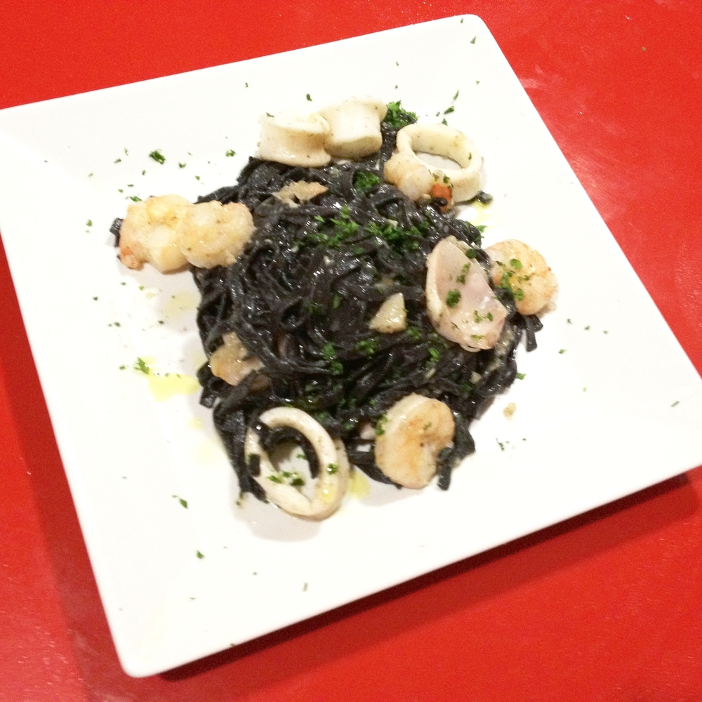 Shrimp and Scallop with black ink pasta