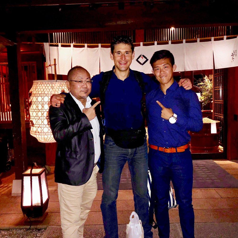 Kazumi (Sports Gain CEO), Ben and Tateki at Tokyo Shiba Tofuya Ukai