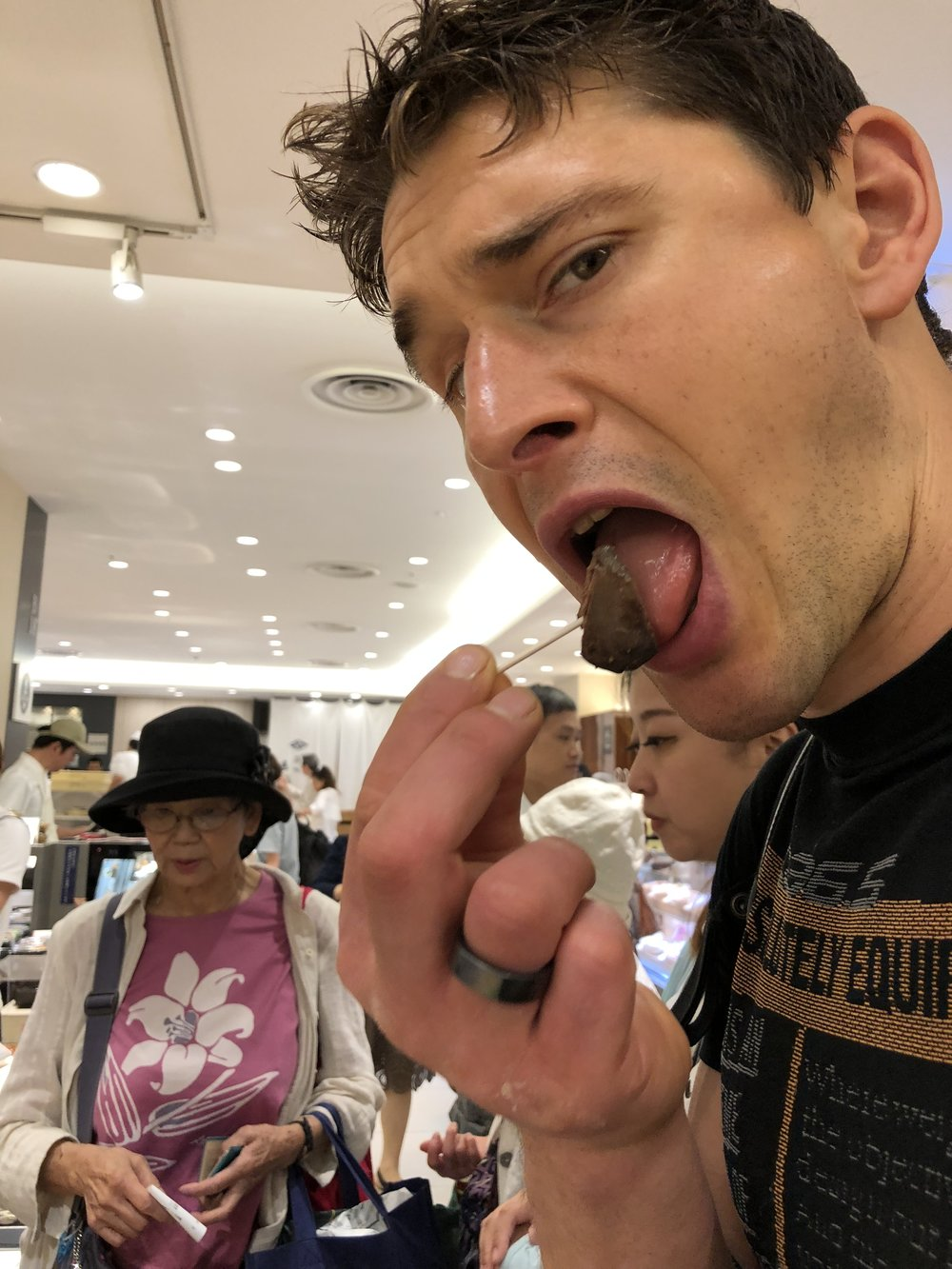Ben browsing around department store in Ginza