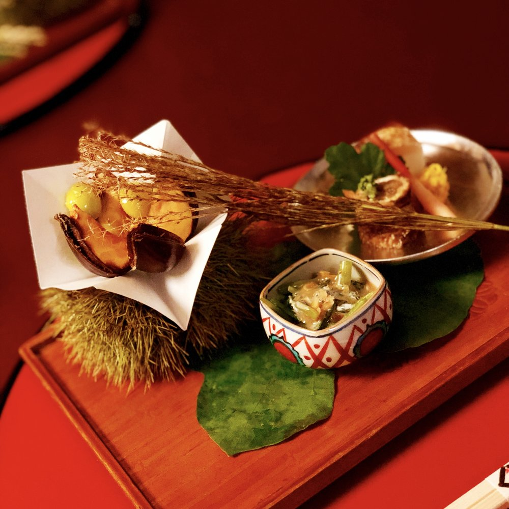 Barracuda sushi, deep fried chest nut, simmered burdock and grilled conger eel roll,