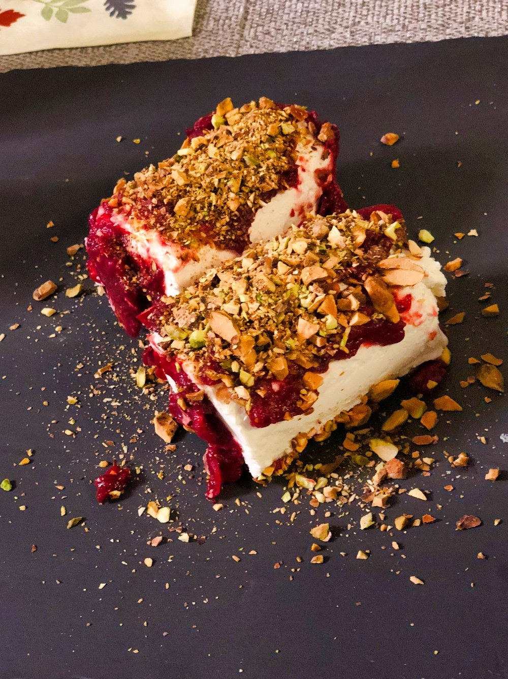 goat cheese with pistachio and cranberry jam