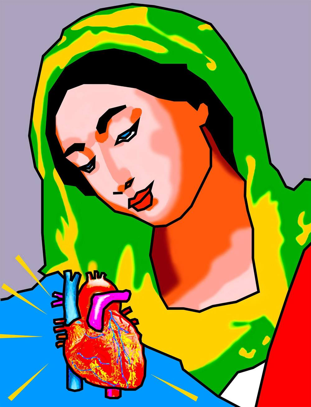 MADONNA AND HEART, Digital Canvas, British Heart Foundation Appeal,2010/11,Duggie Fields