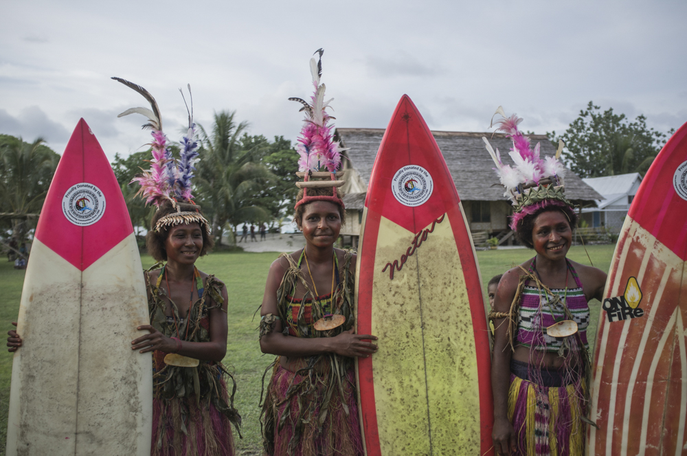 Half of all donated surfboards are painted pink for the girls to have a fair go.