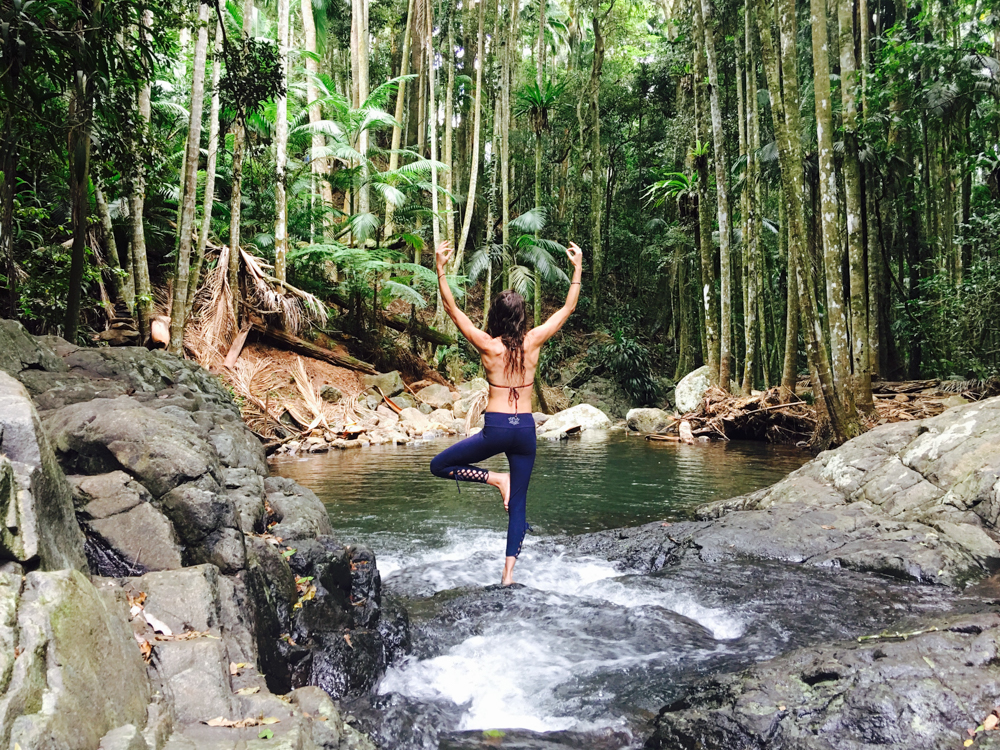 Full vegan power. In  Divine Goddess Yoga Products  leggings that are the BEST for weekend hikes.