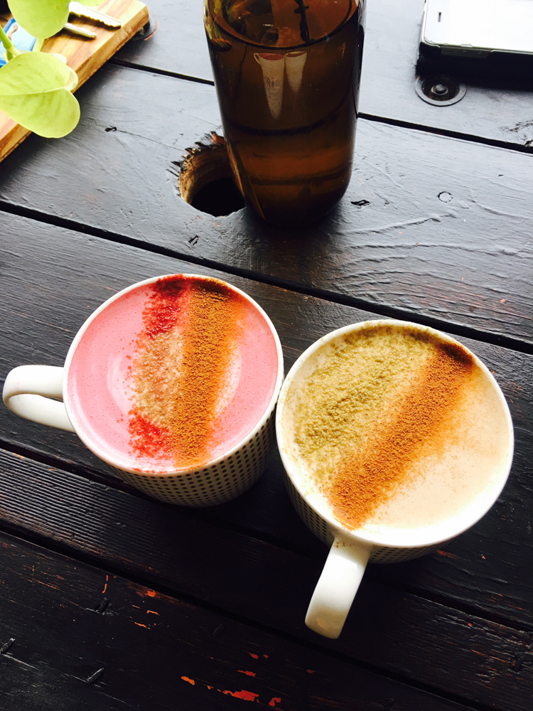 Hers and his: beetroot latte and sticky masala chai on coco-macca milks