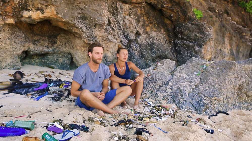 Eco Fin founders Luise surrounded by plastic waste in Bali.