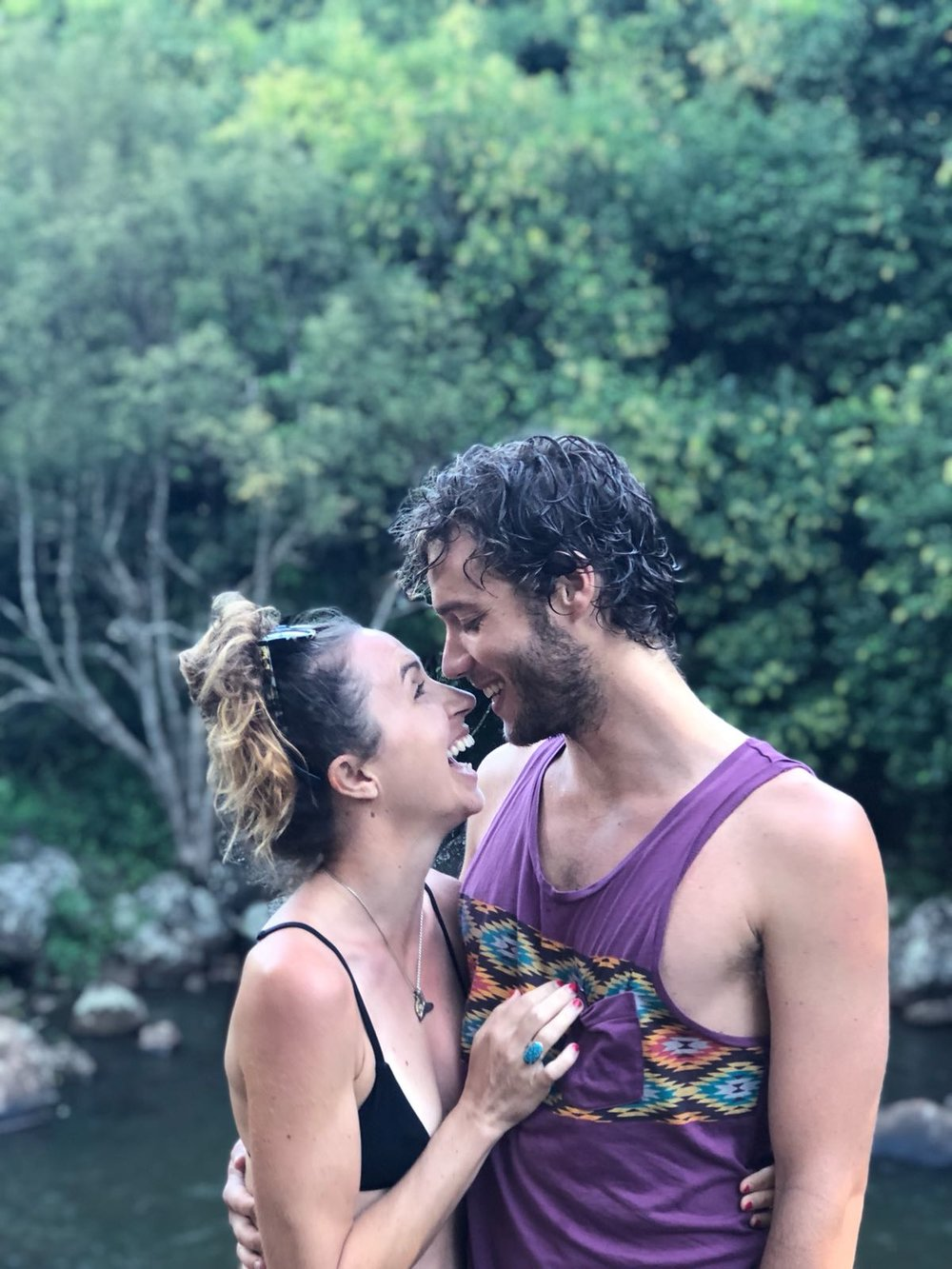 With my love, Remy, at a local waterfall near Lennox Head. Pic: Cade McConnell