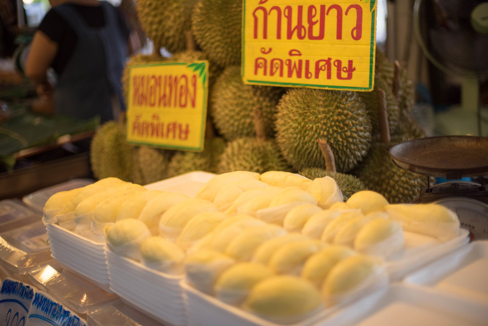 Durian - Not my favorite of fruits (smelly) but people really like it.