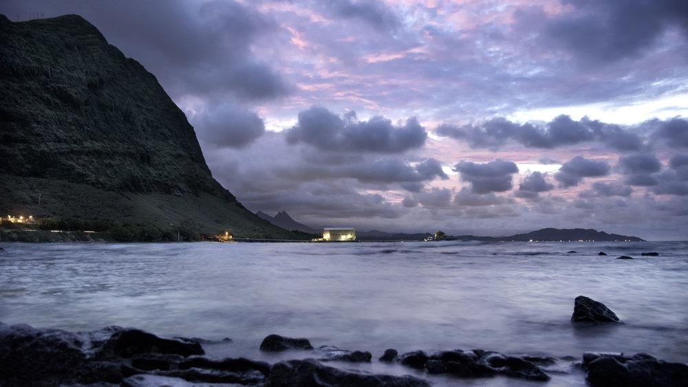 Makai Pier - Oahu, Hawaii at Sunset.