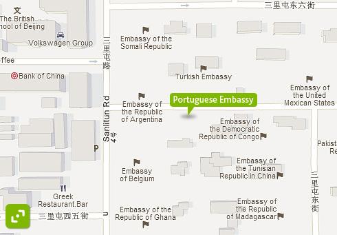 使馆位置示意图