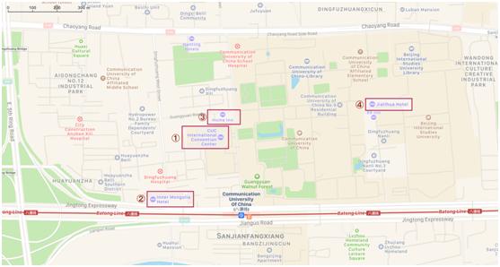 Mapa com a localização dos hotéis