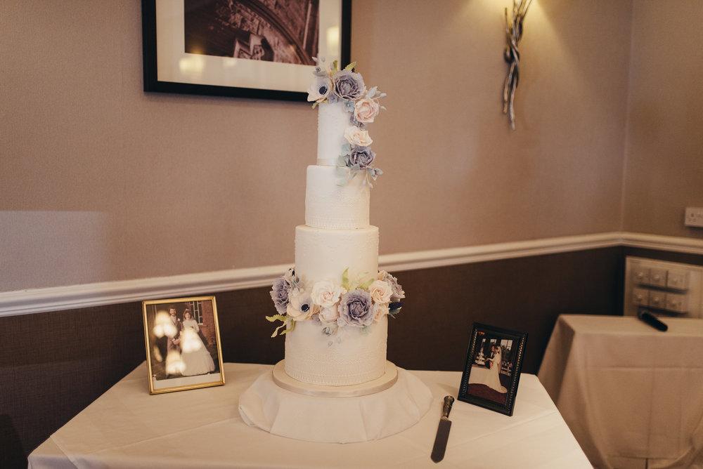 Dusky Blue Sugar Flowers Wedding Cake - Sherbrooke Castle Weddings - Rosewood Cakes Luxury Wedding Cakes Glasgow Scotland