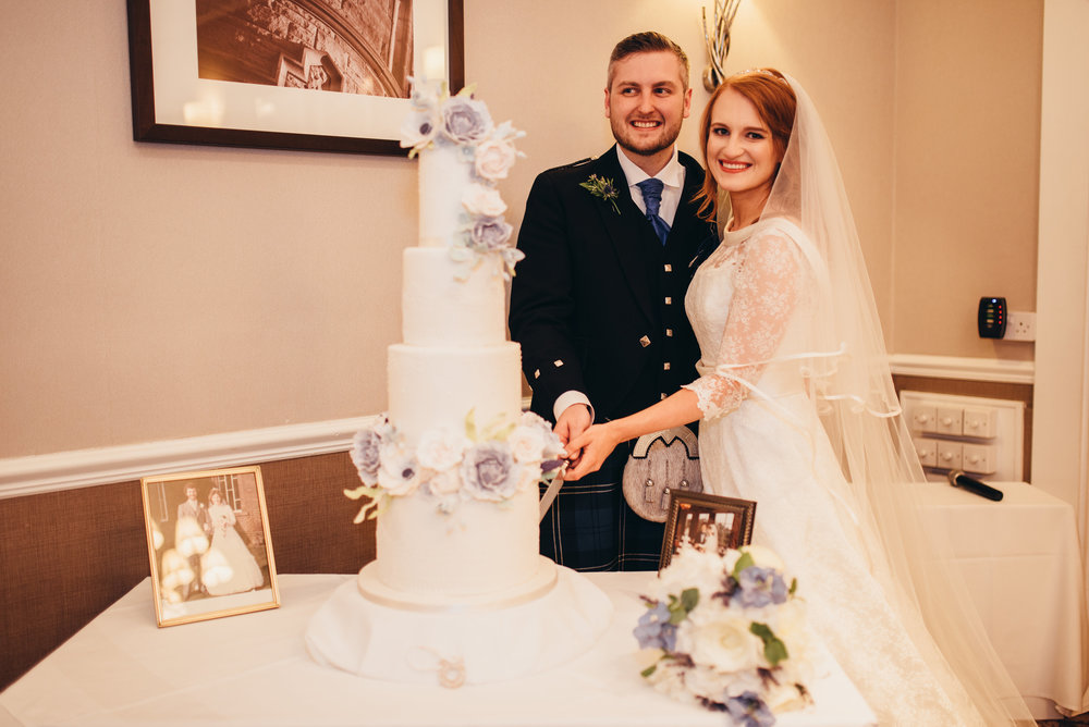 Dusky Blue Florals 2 - Rosewood Cakes Luxury Wedding Cakes Glasgow Scotland - Sherbrooke Castle Weddings