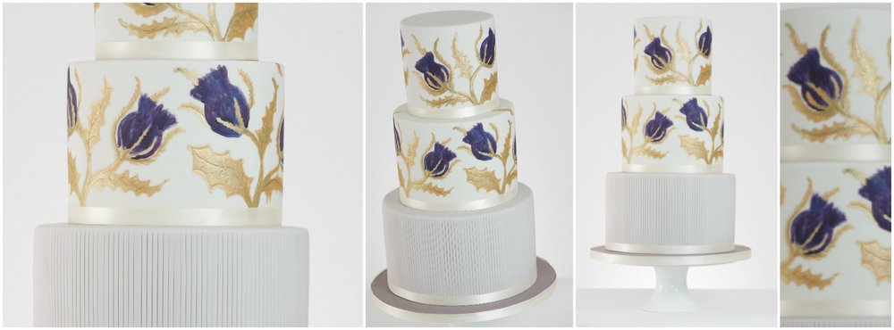 thistle wedding cake collage - rosewood cakes luxury wedding cakes glasgow scotland.jpg