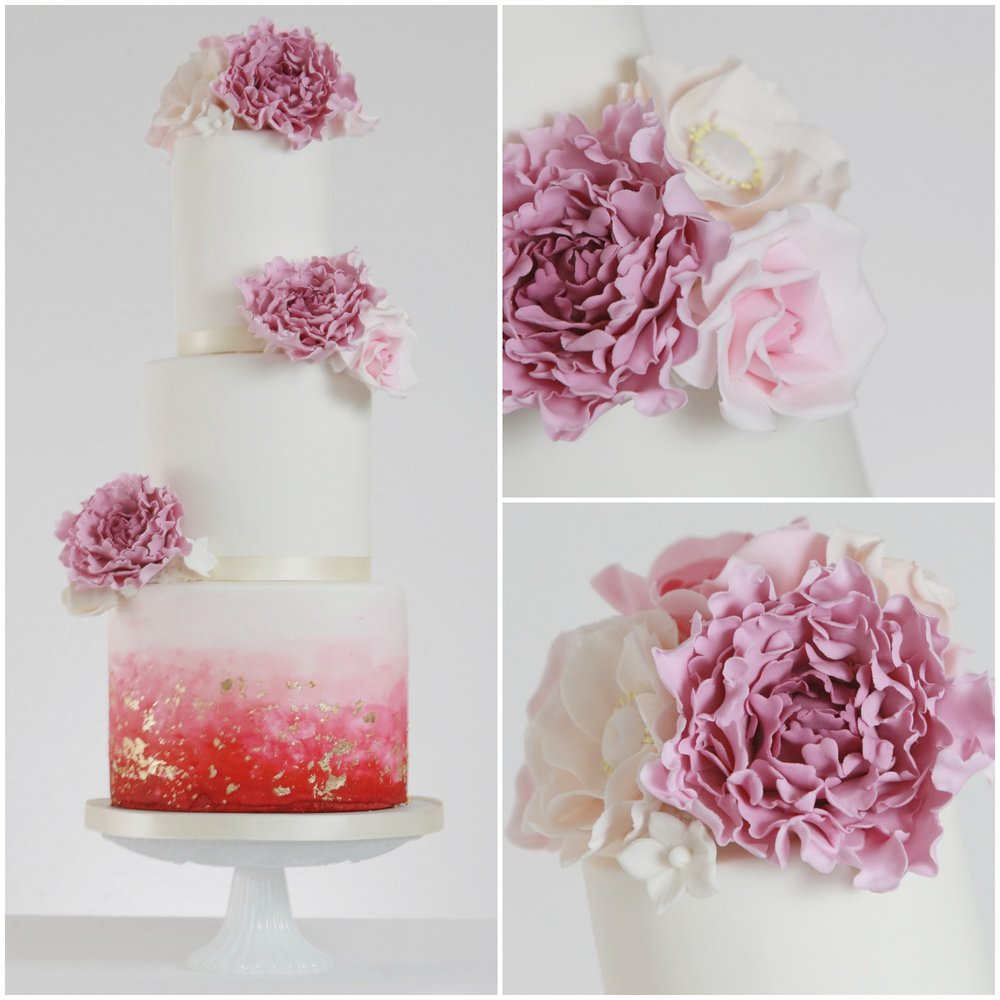 The vivid pink ombre watercolours on this cake, with the dappled gold leaf, make this design one of my all time favourites!   It retains the traditional white wedding cake image, but with a bold, boho vibe.   I've since been asked to do a version of this in purples, with silver leaf and lots of green foliage, I can't wait to get started on that one!