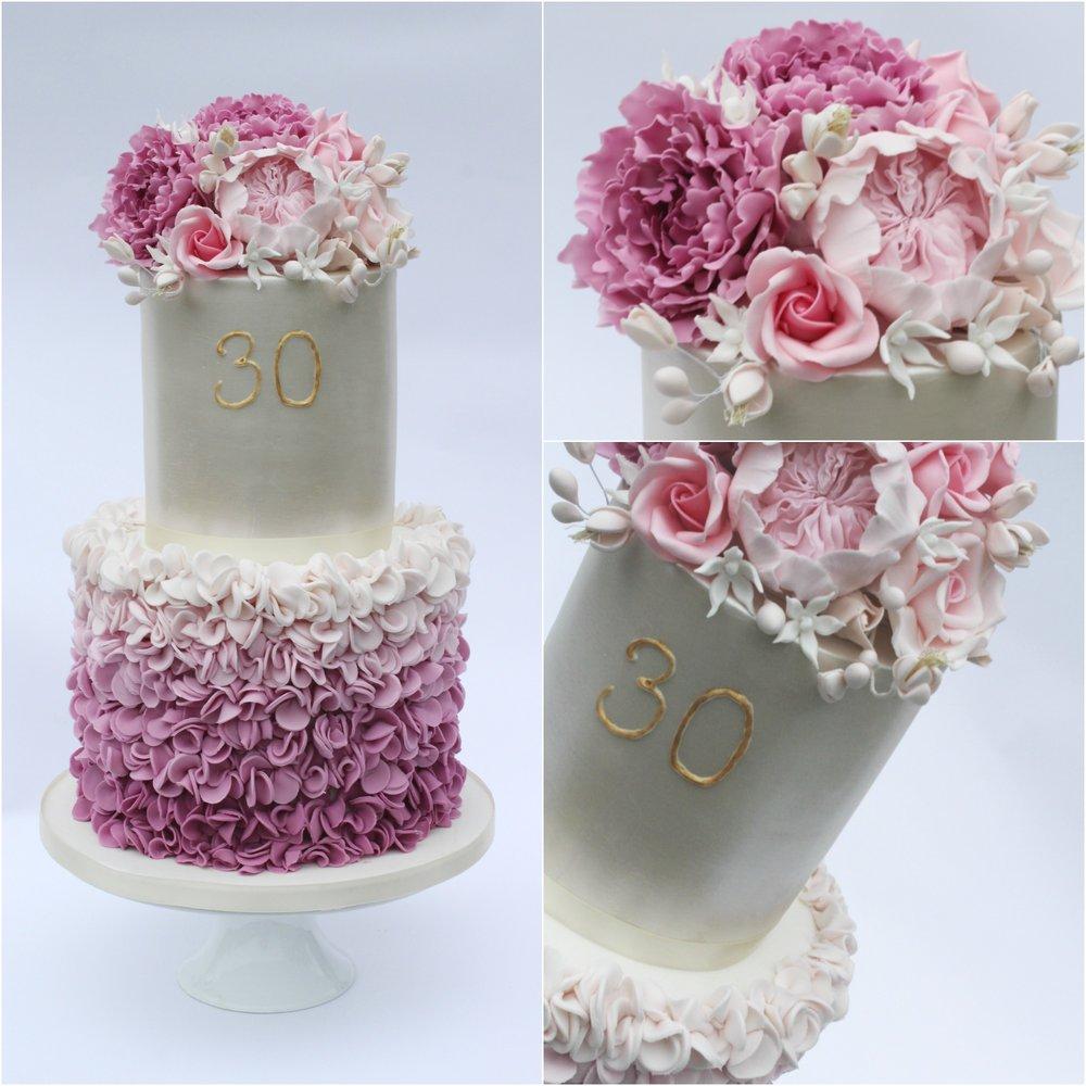 Glam Pink Ruffle Birthday Cake - Rosewood Cakes