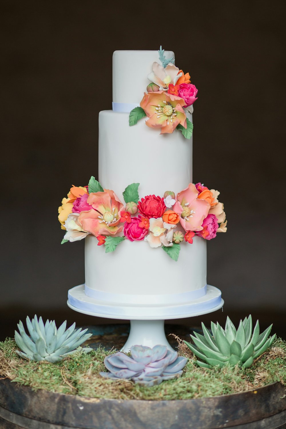 This cake was especially created for the shoot, and all the flowers here are made from sugar.