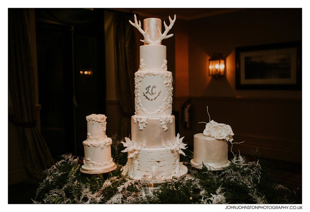 woodland winter wedding cake - luxury weddings rosewood cakes scotland