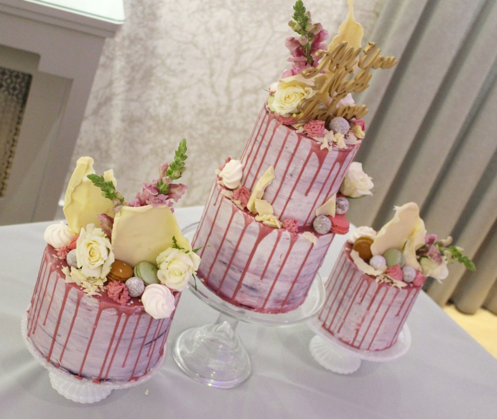 watercolour drip trio - ingliston weddings - rosewood wedding cakes glasgow scotland.jpg