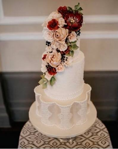 three tier wedding cake - rosewood cakes glasgow scotland
