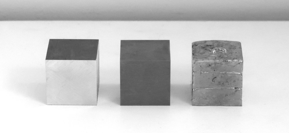 4cm Cubes  Aluminium, tungsten and pewter (10th anniversary edition). Zoe Laughlin, 2007 & 17.