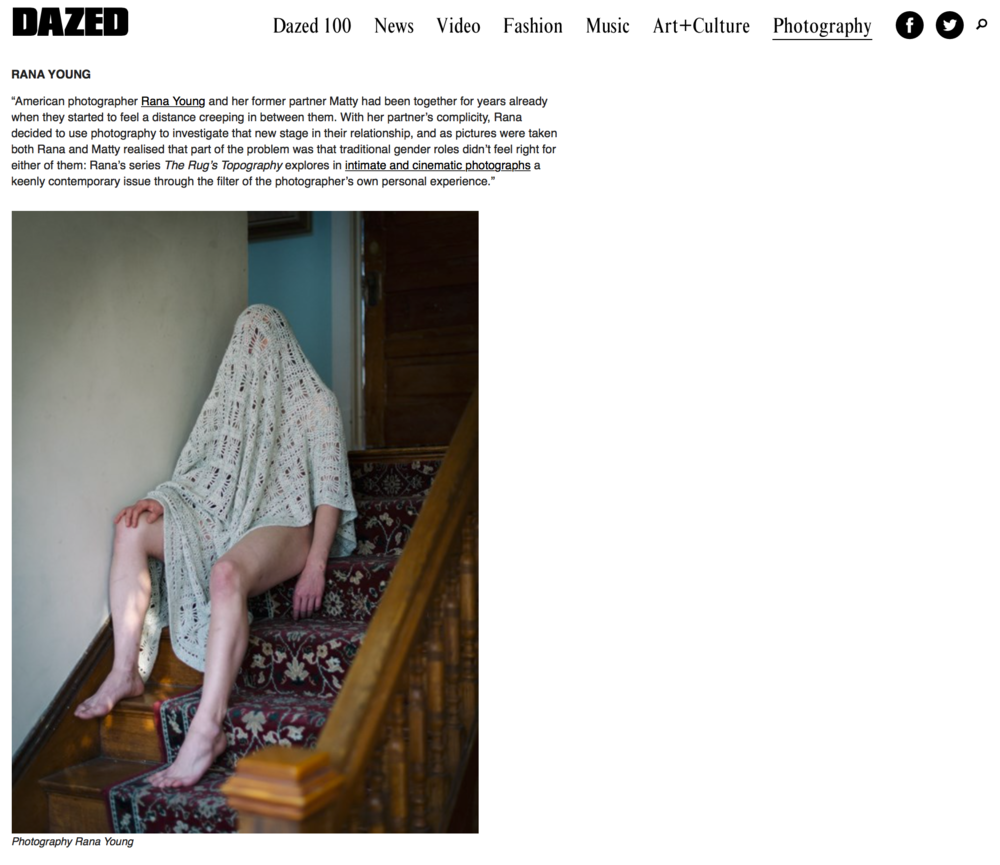 "Graziano Ferri (founder and editor of Fotografia Magazine) in collaboration with Dazed and Confused Magazine selected me as one of ten ""most eye-catching photographers from the past month"". More info here."