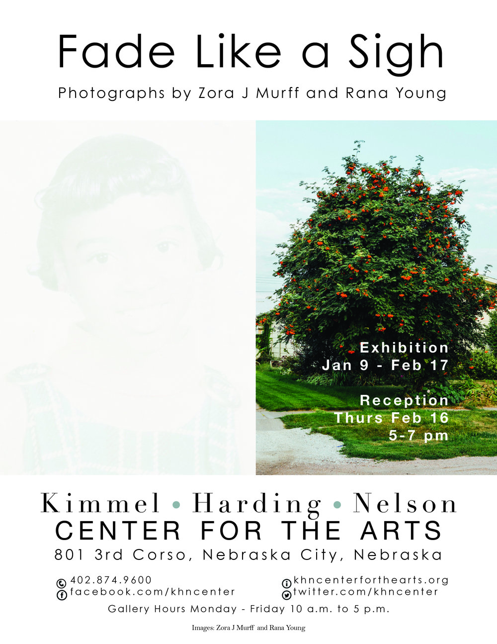 Zora J Murff and I are exhibiting our collaborative body of work Fade Like a SIgh at Kimmel Harding Nelson Center for the Arts! The show opens today! We will be giving a gallery talk during the closing reception on Feb. 16th from 5-7pm! More info here.